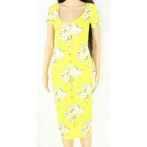 Velvet Torch Yellow Floral Snap Button Midi Dress